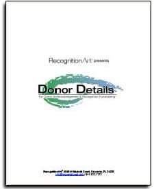 Donor recognition walls and displays book by RecognitionArt