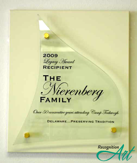 Greater Delaware YMCA Glass Award Plaque by RecognitionArt