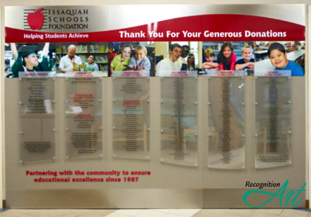 Issaquah Schools Foundation WA Changeable Plxiglas Panel Display by RecognitionArt