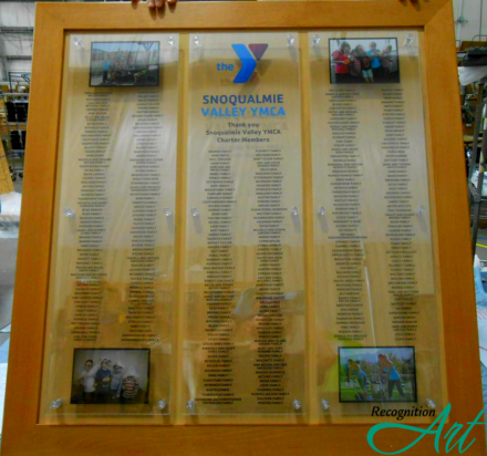 Snoqualmie Valley YMCA Wood Frame 3 Panel Plexi Changeable Display by RecognitionArt