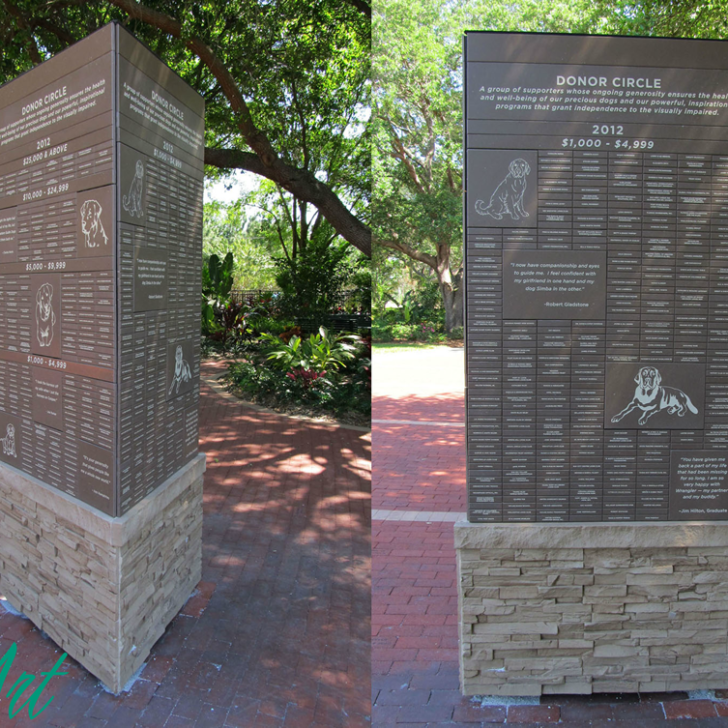 Southeast Guide Dogs Freestanding Corian and Brick Display by RecognitionArt